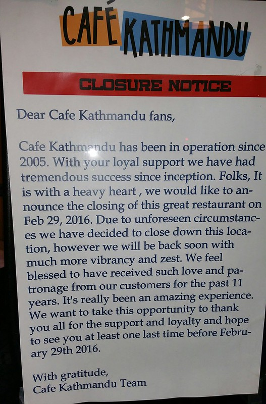 2016-Feb-17 Cafe Kathmandu - closure notice