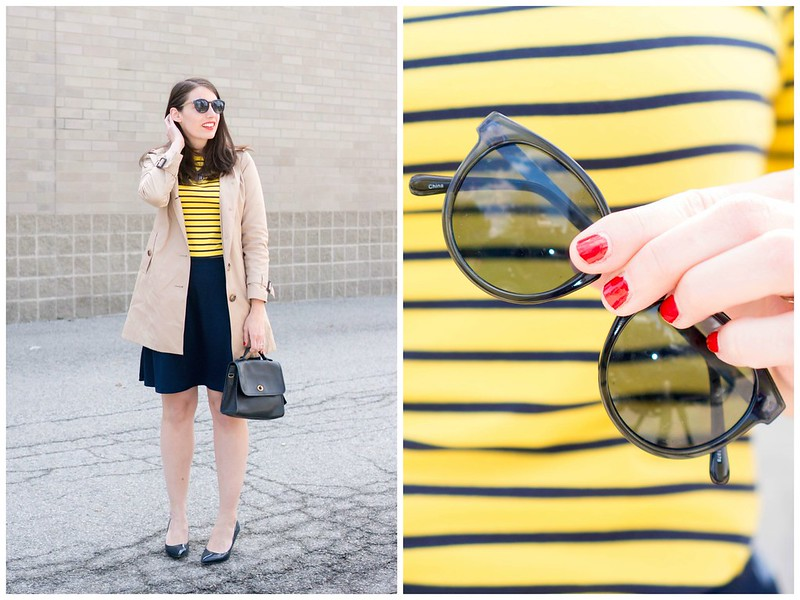 yellow and navy stripe tee, navy Loft sunglasses, trench coat, navy Old Navy flare skirt Style On Target