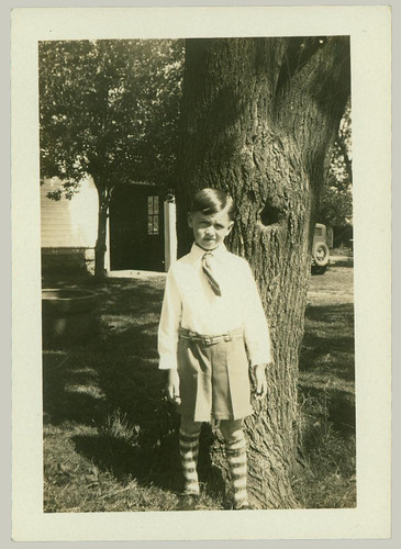 Boy with striped socks