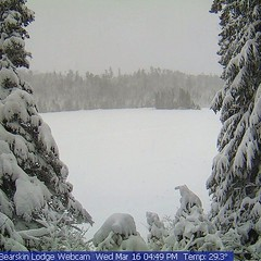 Webcam this afternoon. Yes, we did indeed get a snowstorm. #bearskinlodge #gunflinttrail #centralgunflintskitrails