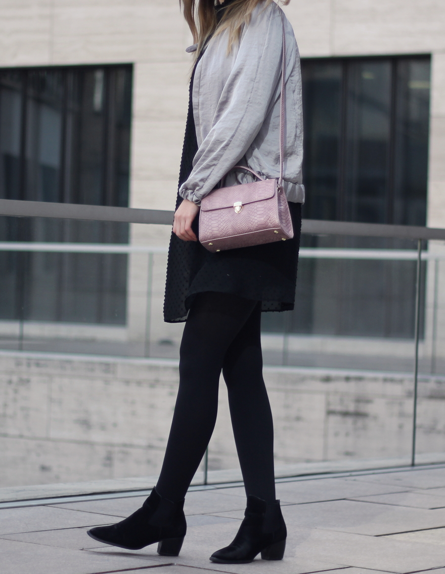 outfit cute bag silber satin bomber chic urban city ffm fashion style blogger mondodellamoda