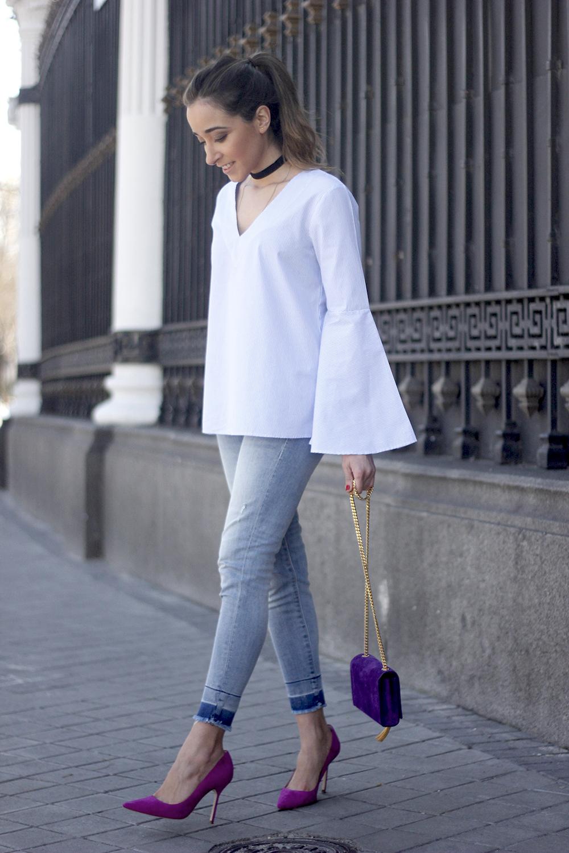 striped blouse with bell sleeves ysl handbag carolina herrena pink heels black choker Aristocrazy Ring outfit07