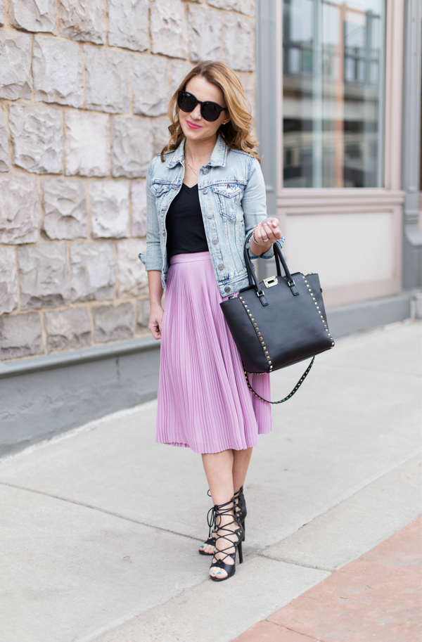 Pretty pleats and springtime denim