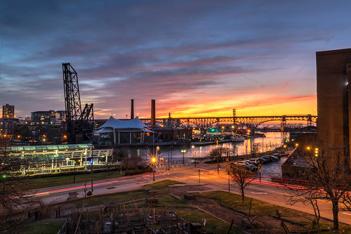 city longexposure bridge winter sunset ohio sky urban clouds river geotagged evening nikon unitedstates cleveland lighttrails hdr cuyahogariver lightstream nikond5300