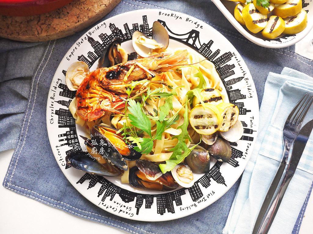孤身廚房-寶迪鍋一鍋到底茄汁綜合貝類義大利麵佐烤天使紅蝦與櫛瓜36