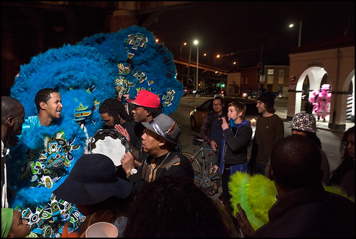 Monogram Hunters 2nd Chief Jeremy Stevenson and 3rd Chief Dump (pink) wander downtown on St. Joseph's Night on March 19, 2016. Photo by Ryan Hodgson-Rigsbee www.rhrphoto.com