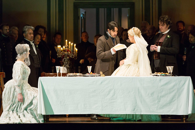 Kwangchul Youn, Charles Castronovo, Diana Damrau, Ludovic Tézier in Katie Mitchell's Lucia di Lammermoor ©2016 ROH. Photograph by Stephen Cummiskey