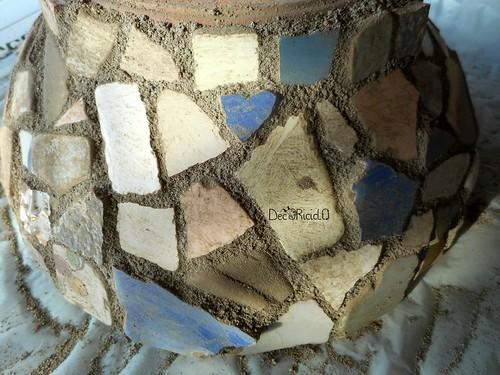 vaso terracotta con mosaico ricicloso 10