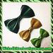 Glitter Vinyl Hair Bows Trio Green Gold Rockabilly Bow Pinup Girl Hairbow Hair Clip Glitter Bow vinyl bow St. Patricks Hairbow Sparkle Vinyl