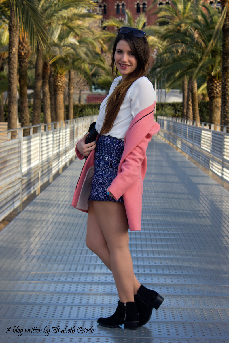 tribal blue skirt with pink coat HEELSANDROSES look (8)