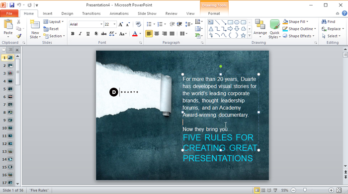 create powerpoint presentation based on the template