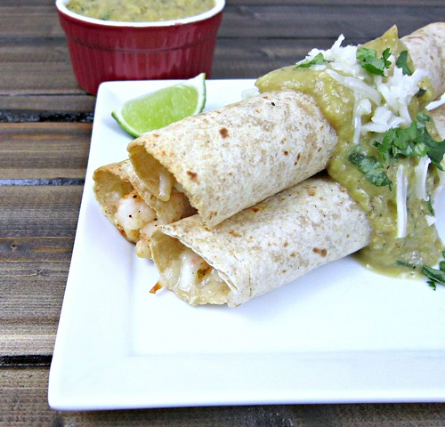 Shrimp Taquitos with Avocado Salsa Verde