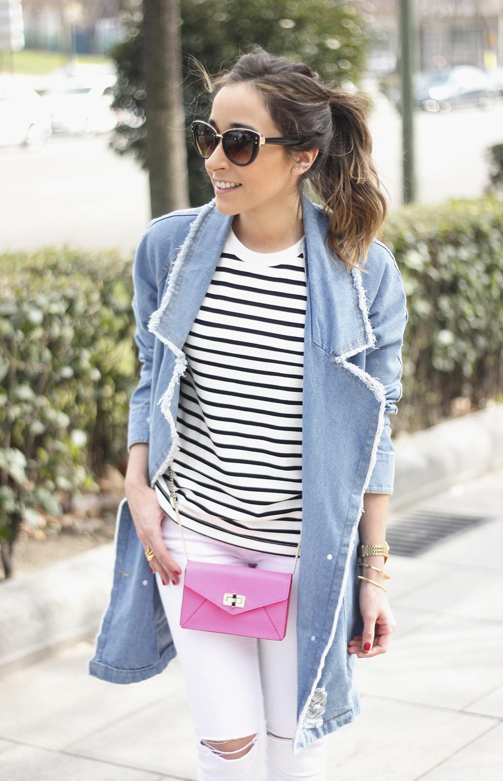 Stripes and Denim Coat Gloria Ortiz Heels Accessories Sunnies Outfit03