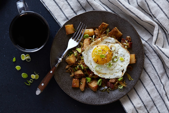 Smokey Potato and Brussels Sprout Skillet Hash