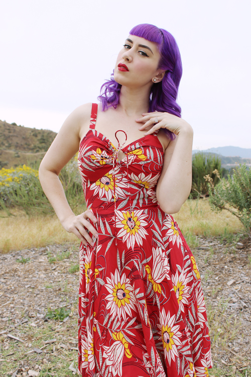 Trashy Diva L'Amour Dress in Red Waterlilies Print