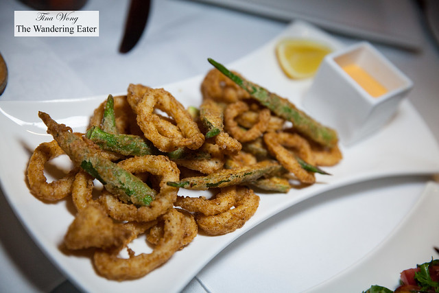 Fried okra and calamari