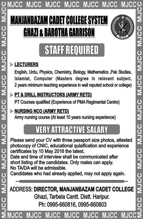 Manjanbaz Cadet College Gazi and Barotha Jobs 2016