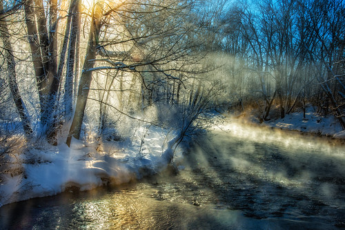 fog sunrise stream steam eastonpa bushkillcreek nikond4 blizzard2016