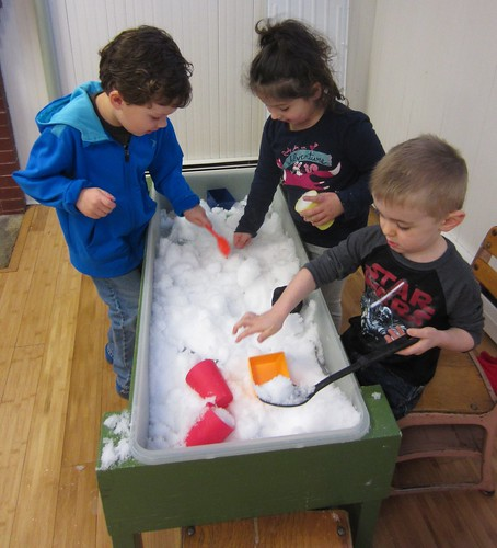 snow in the sensory table