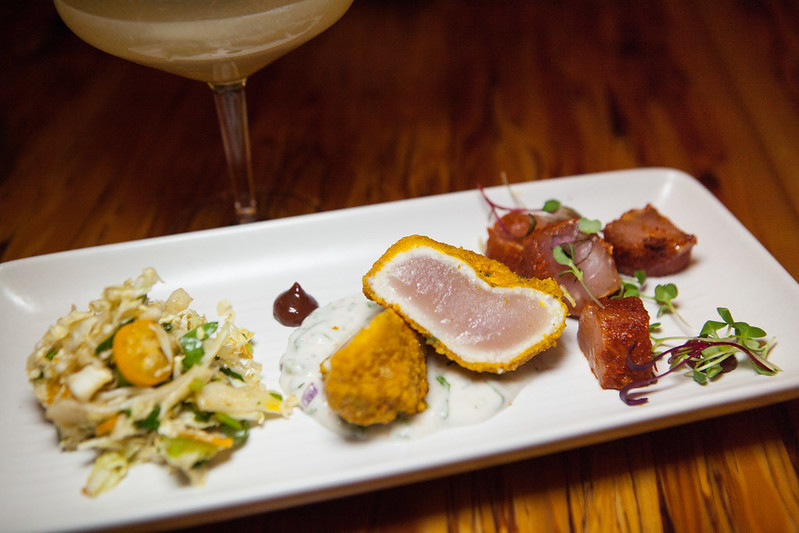 Thon Tropical - Albacore Tuna Prepared Two Ways - Fried And Ceviche. Tamarind, Coconut Remoulade, Spicy Cabbage Kumquat Salad