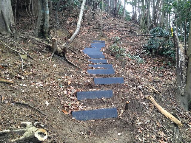 池田山 大津谷登山道 鉄塔巡視路階段