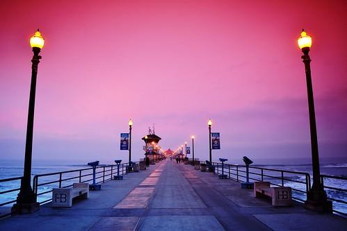 ocean beach sunrise dawn pier filter pedestrians lamps