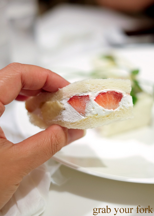 Strawberry and cream inside the fruit sandwich at Takano Fruit Parlour, Shinjuku, Tokyo