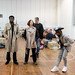 Charlie Folorunsho, Amanda Hadingue, Iain Johnstone, and John Pfumojena in rehearsals for I Am Thomas, Copperfield Rehearsal Rooms