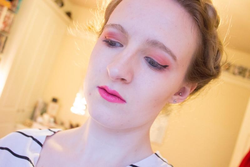 Yellow, orange, and red eyeshadow