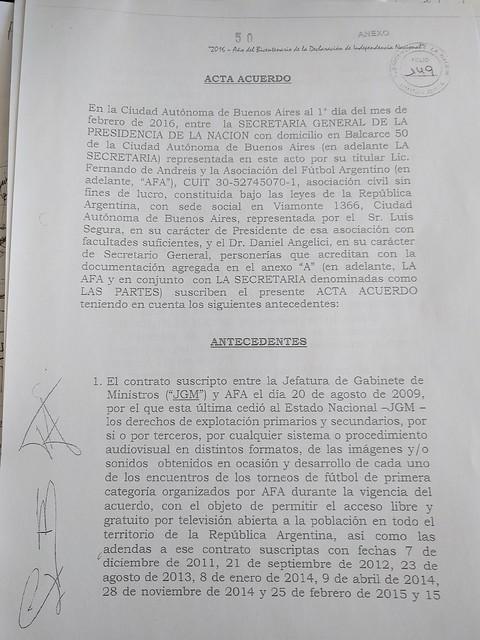 Acta Acuerdo - Secretaría General de Presidencia y AFA