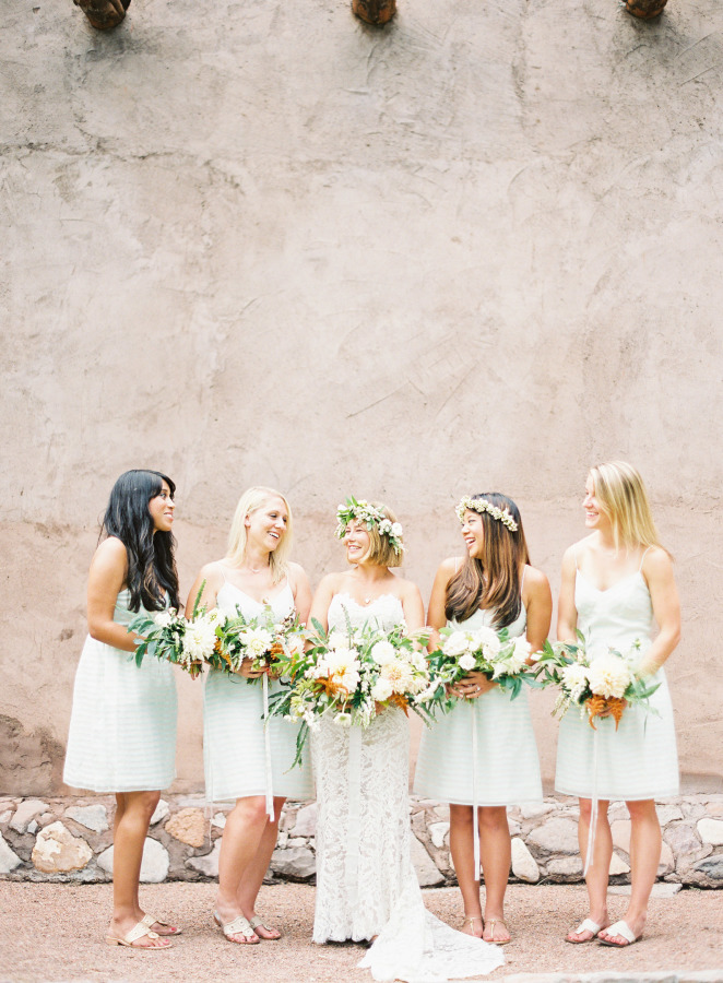 Anna Maier Ulla Maija Wedding Dress, off white / light mint bridesmaids dresses