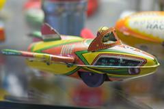 Tin toy flying jet car