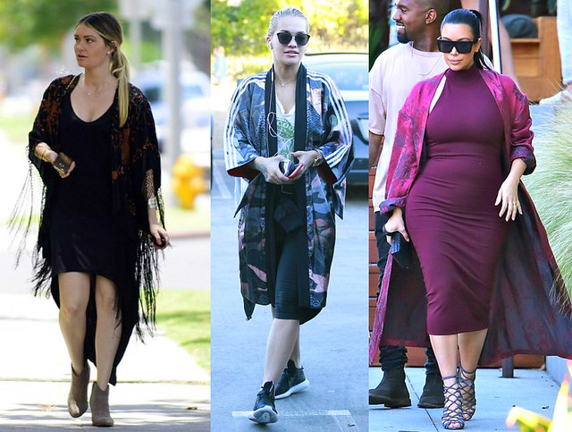 black high-low dress, brown and black rose embellished kimono wrap, taupe-coloured heeled ankle boots, sporty ensemble, skin-tight gym leggings, trainers, a crop t-shirt, a midi length colourful Adidas X Rita kimono, sunglasses, maroon Torn by Ronny Kobo