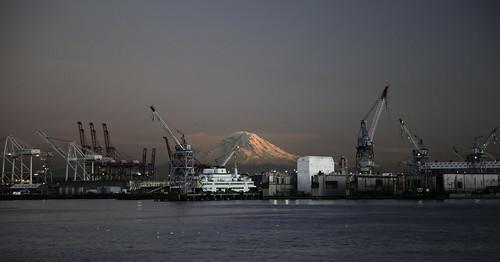Mount Rainier and Harbor Island, Seattle