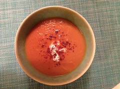 Spicy carrot soup with creme fraiche and sumac
