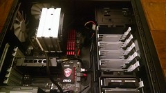 Here is a not so great photo of my new computer case from last night on the inside.