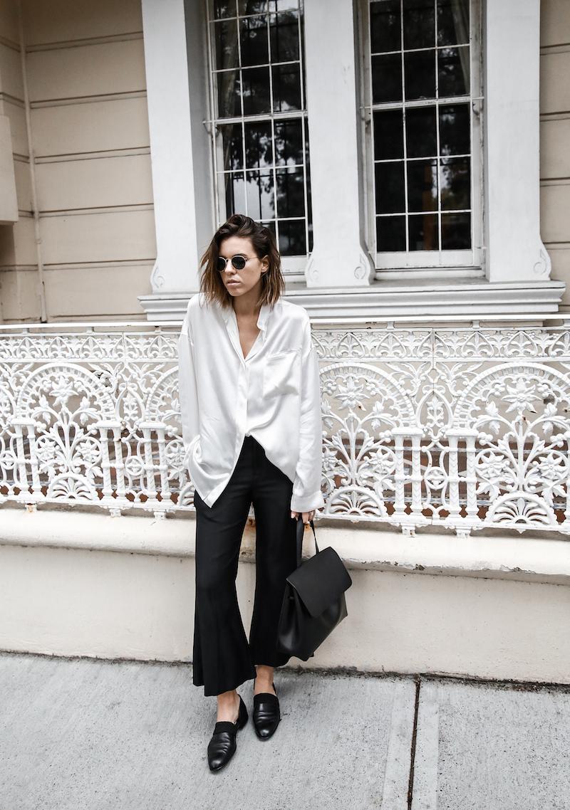 monochrome minimal street style inspo fashion blogger Haider Ackermann silk shirt flare pant mansur gavriel bag black white modern legacy outfit (2 of 6)