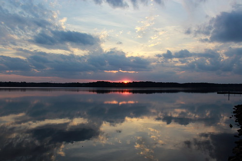 sunset reflections northcarolina lakecrabtree partlycloudy ohdannyboy