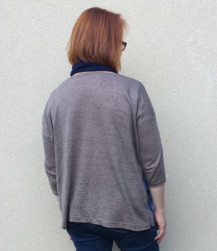 Tessuti Mandy boat tee in scrap knit for front and linen blend knit for back and sleeves