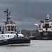 Tugboat Fairplay X running past Hansaport bulk terminal