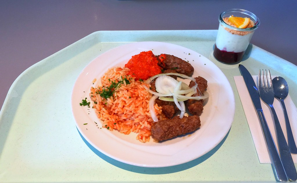Cevapcici With Ayvar Fresh Onions Tomato Rice Cevapci Flickr