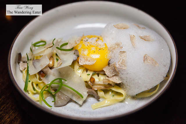 Tagliatelle, sous vide duck egg yolk. oyster mushroom. pine nut