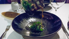 abalone, lettuce, roasted green tea