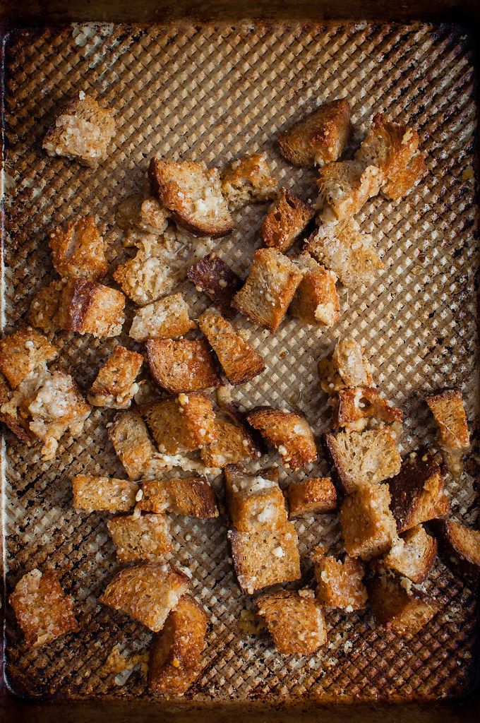 3 ingredient homemade parmesan crusted croutons