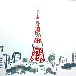 #illustration #sketch #drawing #線画 #satoshigemi #tokyo  #tower