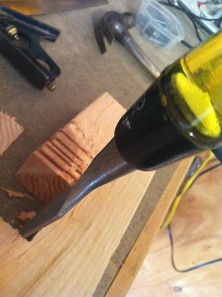 using chisel to remove notched out cuts