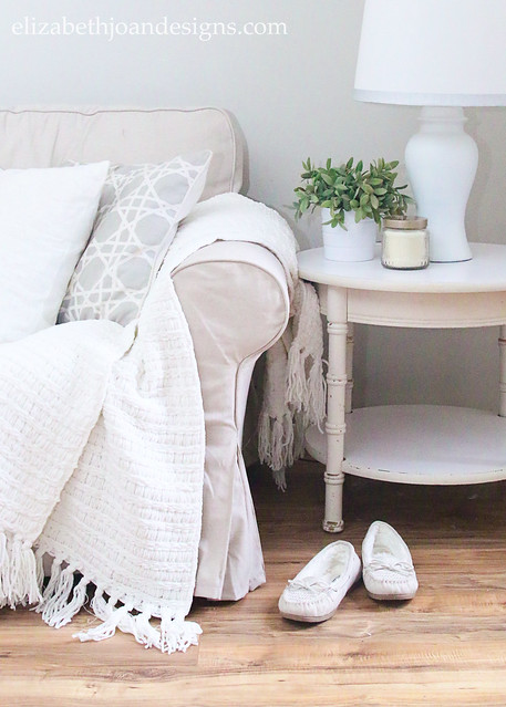 Cozy Neutral Sofa Couch End Table