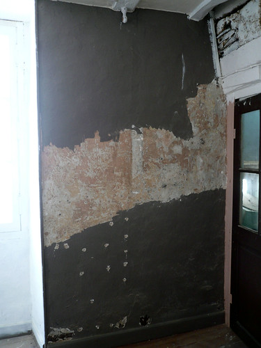 wall behind door