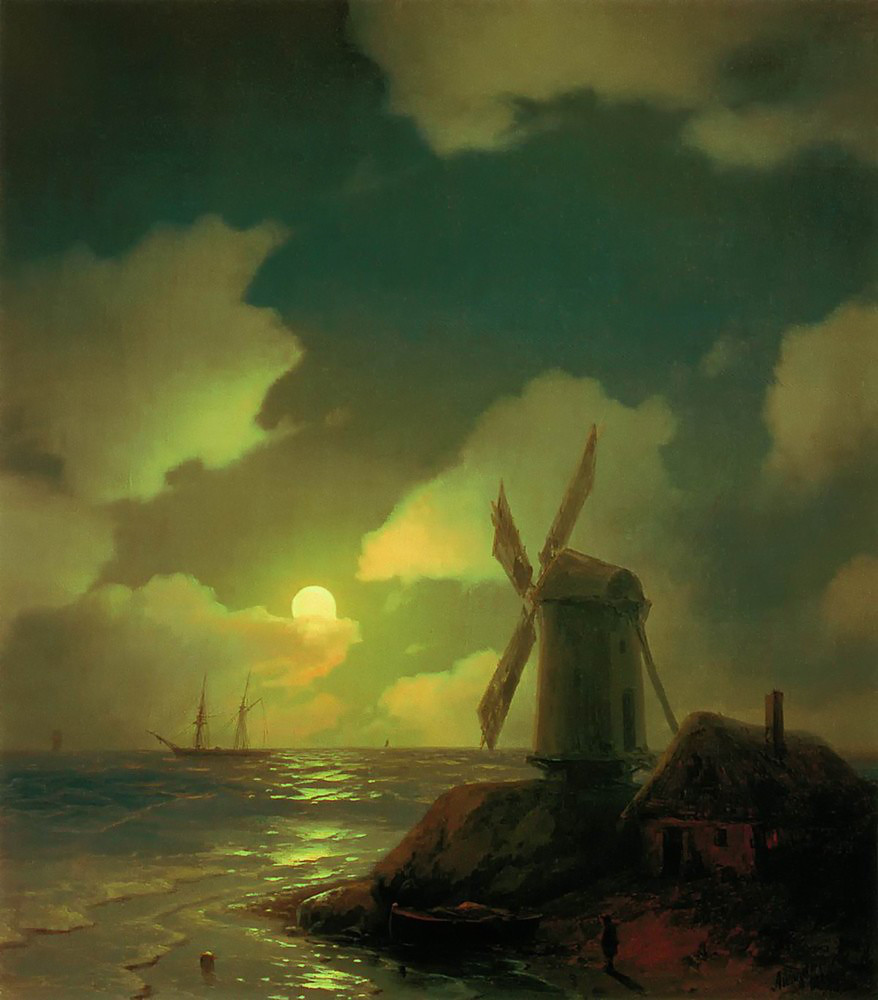Windmill on the Sea Coast by Ivan Aivazovsky, 1851