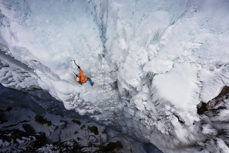 David Roetzel ice climbing in Ouray